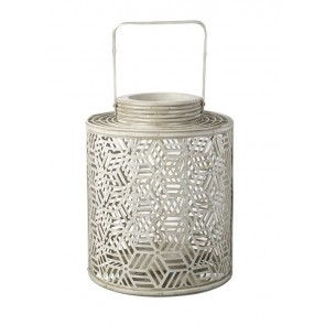 Parlane Large Geometric Candle Lantern in Cream
