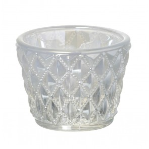 White Lusture Lattice Tea Light Holder