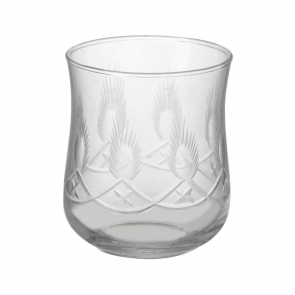 Parlane Violet clear glass drinking glass with etched design