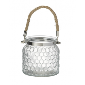Glass Honeycomb Candle Lantern