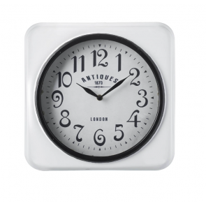 Parlane Antiques white metal wall clock