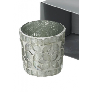 Parlane Silver Glass Mosaic Tealight Holder