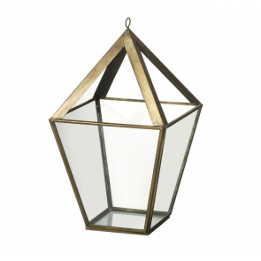 Parlane Casa Small Hanging Lantern in glass and antique gold coloured metal