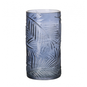 Parlane Leafprint Blue Glass Vase