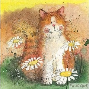 Alex Clark Cat and Daisies Mini Print