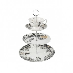 3 Tier Tea Cup Cake Stand, Fine China by Creative Tops