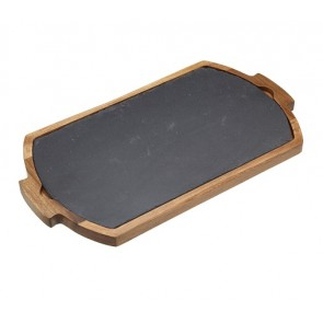 Combination Serving Board and Tray - Slate and Wood
