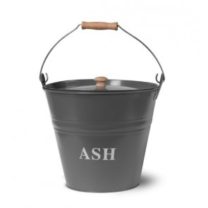 Ash Bucket with lid in Charcoal
