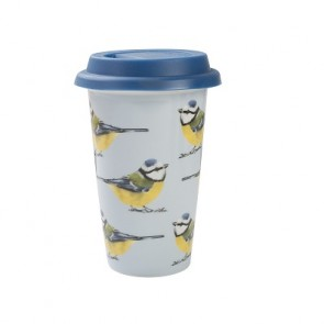 Into the wild porcelain blue tit travel mug with silicone lid by Creative Tops