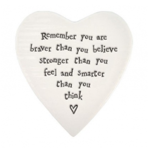 Remember you are braver than you believe - porcelain coaster