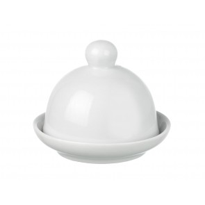 White porclain butter dish