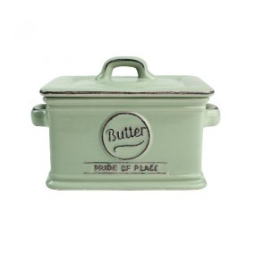 Ceramic old green butter dish