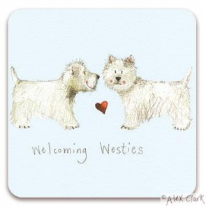 Welcome Westies drinks coaster by Alex Clark