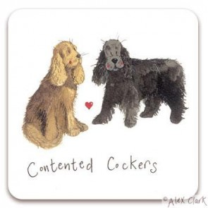 Contented Cocker Spaniel drink coaster by Alex Clark