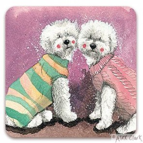 Bichon Frise drinks coaster by Alex Clark