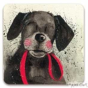 Black Lab - Red Lead drinks coaster by Alex Clark