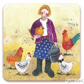 Chicken Lady drinks coaster by Alex Clark
