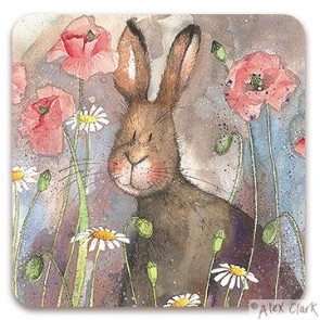 Hare & Poppies drinks coaster by Alex Clark