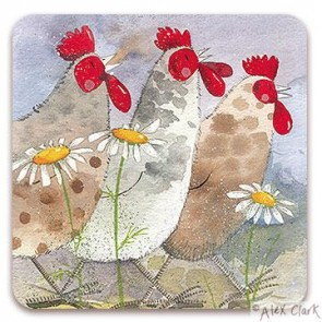 Three Hens drinks coaster by Alex Clark
