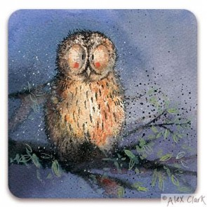 Night Owl drinks coaster by Alex Clark