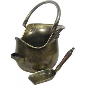 Antique Brass Plealey Coal Bucket & Shovel