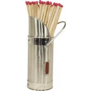 Match Holder with Matches - Satin & Polished Steel