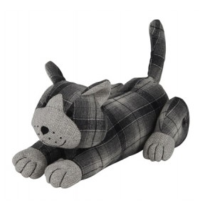 Cat Door Stop - Tartan Fabric