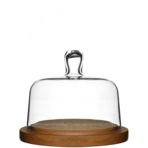 Glass Domed Oak Cheese Board