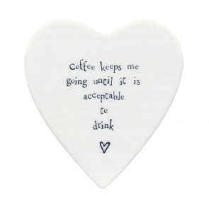 Coffee keeps me going - porcelain heart coaster