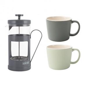 Coffee Gift Set Grey With Two Ceramic Coffee Mugs