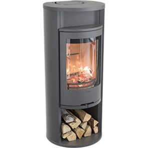 Contura 610 Style Woodburner with Cast Iron Door - Log Store Built In