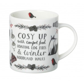 Cosy up with comfort food roaring log fires & winter wonderland walks - Mug by Samara Hardy
