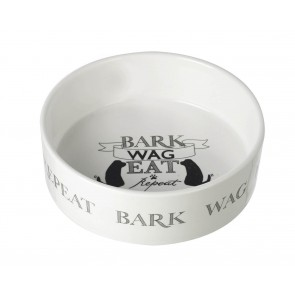Bark, Wag, Sleep, Repeat - Large ceramic dog food bowl