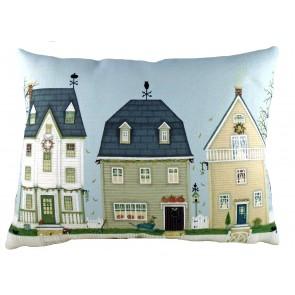 Autumn Houses cushion by Sally Swanell