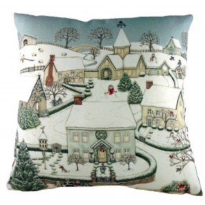 Sally Swanell Snowy Village Print Cushion