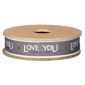 Love You Lots Grey Fabric Ribbon East of India