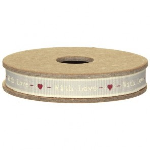 With Love Grey Fabric Ribbon