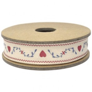 Hearts and Leaves East of India Fabric Ribbon