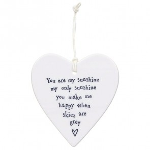 Porcelain Heart Coaster - You Are My Sunshine