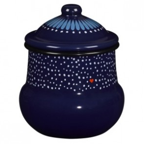 Folklore enamel sugar bowl with lid