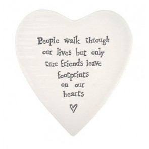 East of India footprints on our hearts porcelain heart coaster