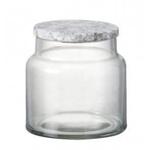 Granite top glass storage jar