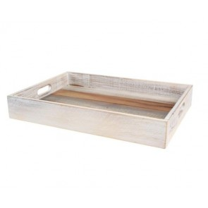 T&G Drift White & Grey Rustic Acacia Tray