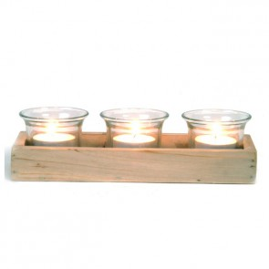 Set of 3 Glass Votives on wooden tray