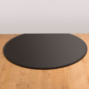 Flat back circle glass hearth black