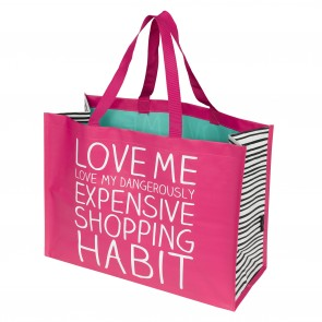 Large pink shopping bag by Happy Jackson