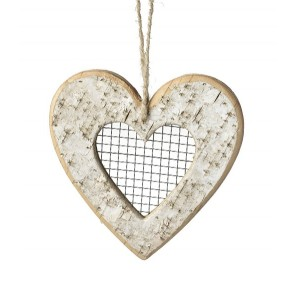 Natural birch hanging heart with mesh