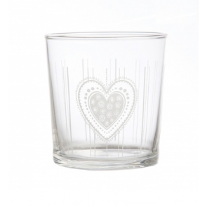 Set of 6 - Heart glass drinking tumbler - 35cl capacity