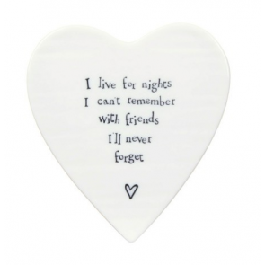 Friends I'll Never Forget Porcelain Heart Coaster