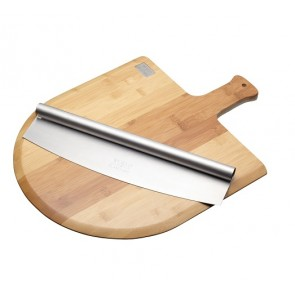 Wooden Pizza Board & Pizza Cutter